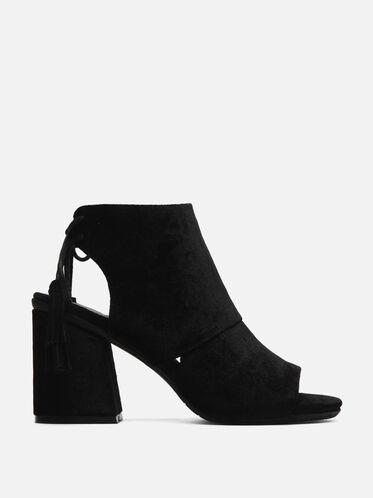 Rachelle Velvet Open-Toe Heel, BLACK