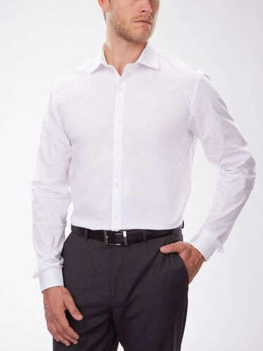 Slim Fit Solid Dress Shirt, WHITE
