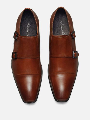 Regal Bearing Leather Monk Strap Dress Shoe, COGNAC