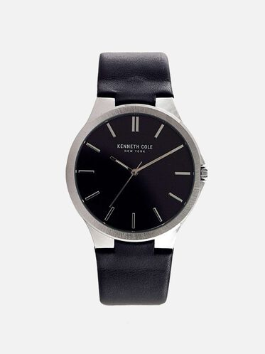 Slim Black Leather Strap Watch, NO COLOR