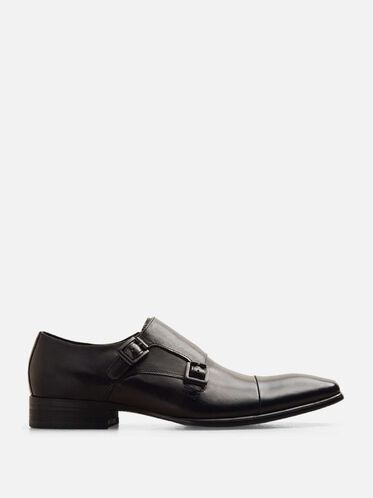 Regal Bearing Leather Monk Strap Dress Shoe, BLACK