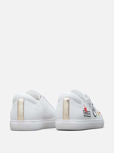 Women's Kam Leather NYC Sneaker, WHITE