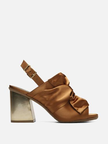 Reach Beyond Satin Open-Toe Block Heel, PETROL