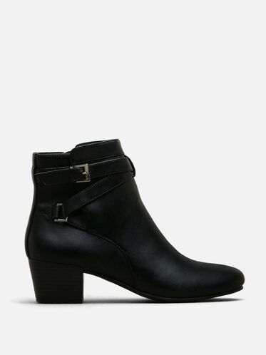 Never Plan Buckle Bootie, BLACK