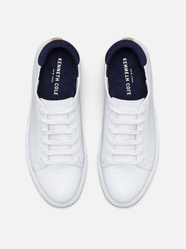Womens Kam Leather Sneaker, WHITE/NAVY