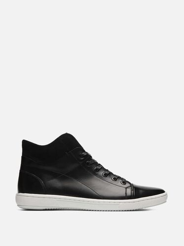 Leather Mid Top Sneaker, BLACK