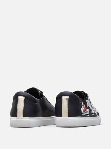 Women's Kam Leather NYC Sneaker, BLACK