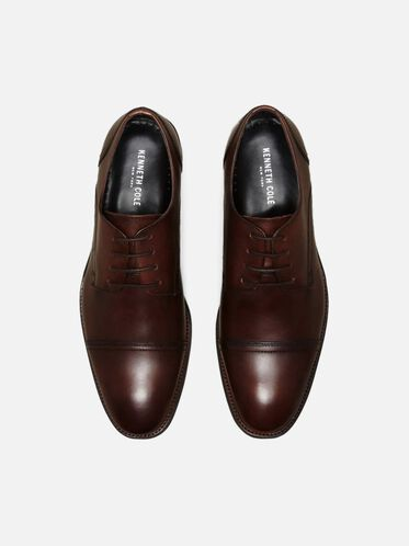 All-Gathered Leather Oxford, BROWN