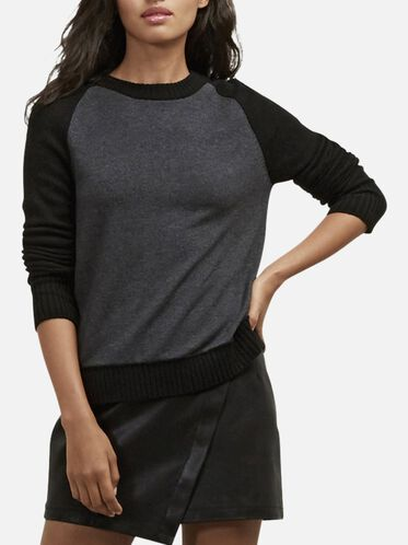Back Zipper Pullover Sweater, BLK/CHARCOAL, hi-res