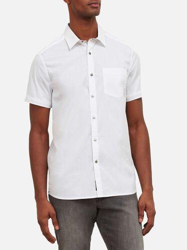Short-Sleeve Snap Shirt, WHITE