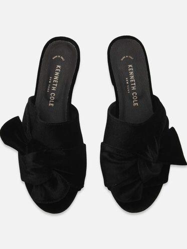 Candice Velvet Slide Sandals, BLACK