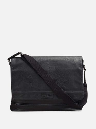 Top-Flap Messenger Bag, BLACK