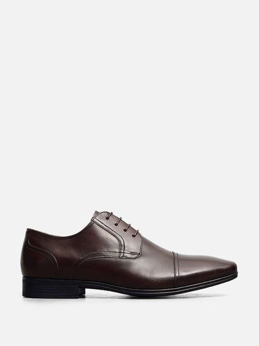 Deter-Min-Ed Leather Cap-Toe Oxford, BROWN