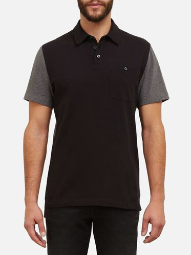Short-Sleeve Color Block Polo, BLACK