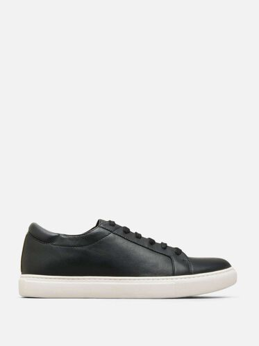 Womens Kam Leather Sneaker, BLACK