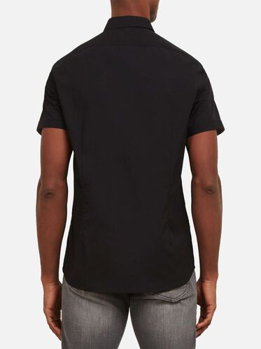 Short-Sleeve Snap Shirt, BLACK