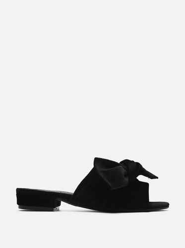 Candice Velvet Slide Sandals, BLACK