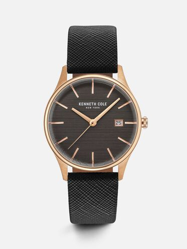 Black Leather Strap Round Watch, NO COLOR