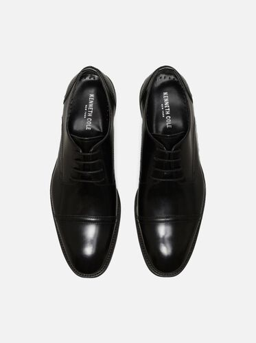 All-Gathered Leather Oxford, BLACK