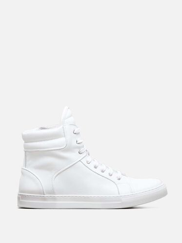 Double Header High Top Sneaker, WHITE
