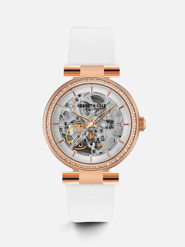 Rose Gold-Tone Automatic Skeleton Watch, NO COLOR