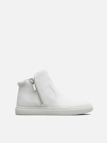 Kiera Leather  Sneaker, WHITE