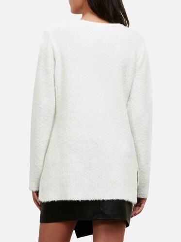Boucle V-neck Sweater, WNTR WHT, hi-res