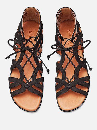 Break My Heart Leather Gladiator Sandal, BLACK