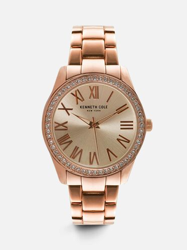 Classic Rose Gold-Tone Round Watch, NO COLOR