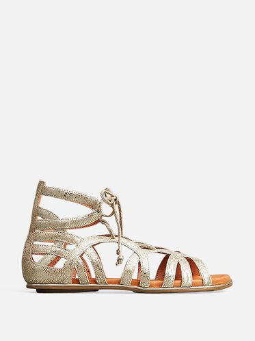 BREAK MY HEART LEATHER GLADIATOR SANDAL, GOLD