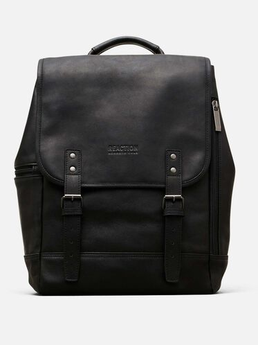 Colombian Leather Flapover Backpack, BLACK