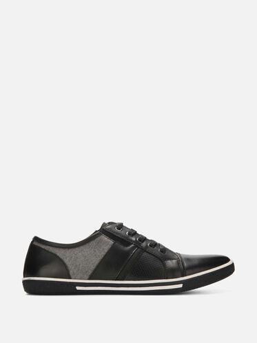 Crown Mixed Media Sneaker, BLACK