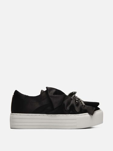 Aaron 3 Jeweled Platform Sneaker, BLACK