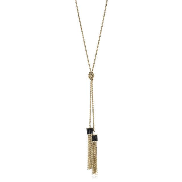 Fairhaven Duo Tassel Necklace Black Jewelry, Black, hi-res