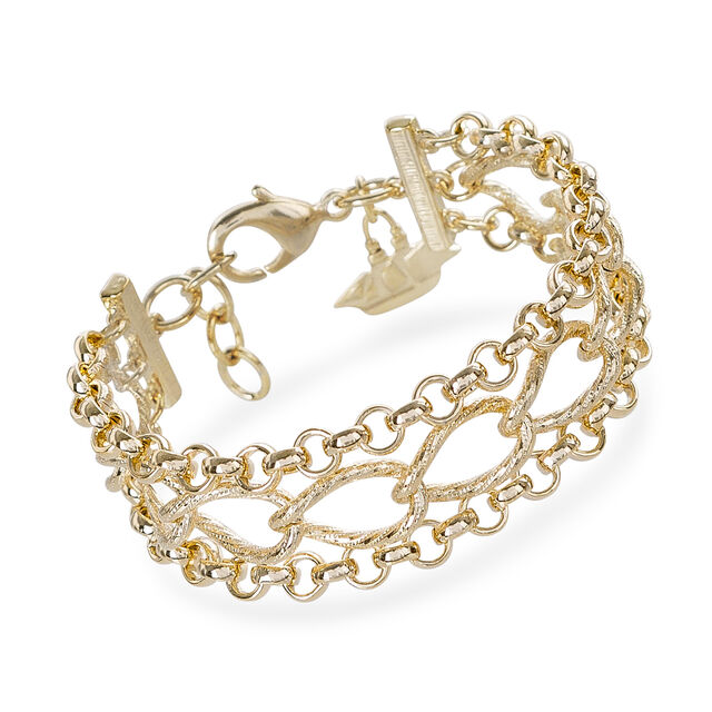 Three Row Chain Bracelet 18K Gold Plated Providence, 18K Gold Plated, hi-res