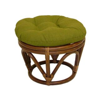 Rattan Papasan Footstool with Fabric Cushion