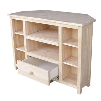 Solid Parawood Corner TV Stand with Drawer and 8 Shelves