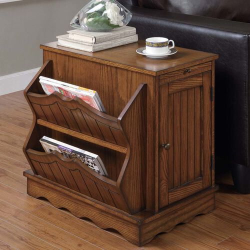 Side Table Cabinet with Magazine Rack