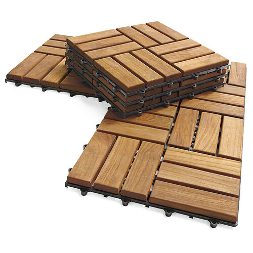 Chic Teak 10-Tile Flooring Kit