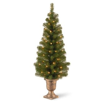 Pre-Lit Artificial Christmas Tree in Black/Gold Plastic Pot
