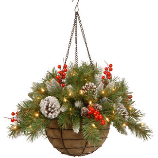 "20"" Frosted Berry Hanging Basket with Battery Operated Lights & Timer"