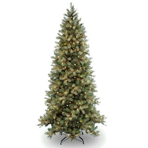 "Pre-Lit ""Feel-Real"" Down Swept Slim Artificial Christmas Tree"