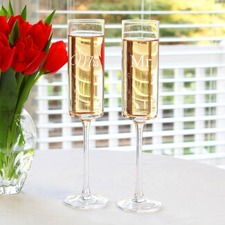 Mr. & Mrs. Contemporary Champagne Flutes Set of 2 by Cathy's Concepts