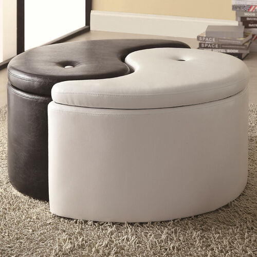 Contemporary Yin-Yang Two-Piece Storage Ottoman