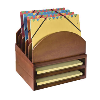 Stack & Style Modular Wood Desk Organizer with Upright Folder Stand