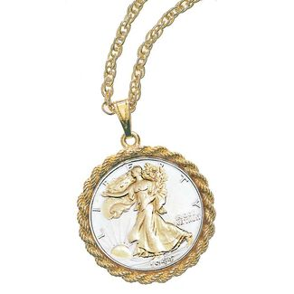 Gold-Layered Silver Walking Liberty Half Dollar Pendant