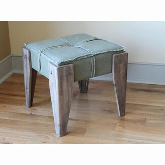 Tufted Stool with Rustic Wood Legs