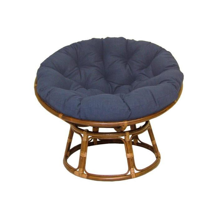 Rattan Papasan Chair With Fabric Cushion Navy Blue Ebay