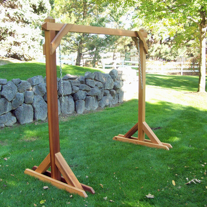 Basic frame cedar porch swing stand ebay for 4x4 swing set plans