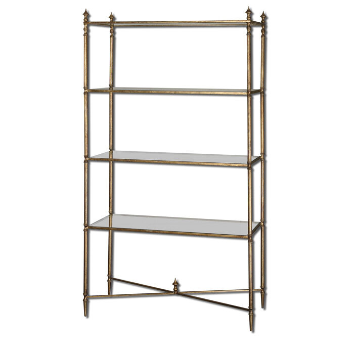 henzler etagere metal frame book shelf w tempered glass. Black Bedroom Furniture Sets. Home Design Ideas